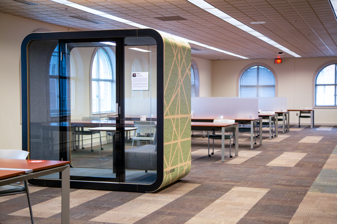 Framery pods designed by Ohio State students and installed at The Ohio State University by Continental Office