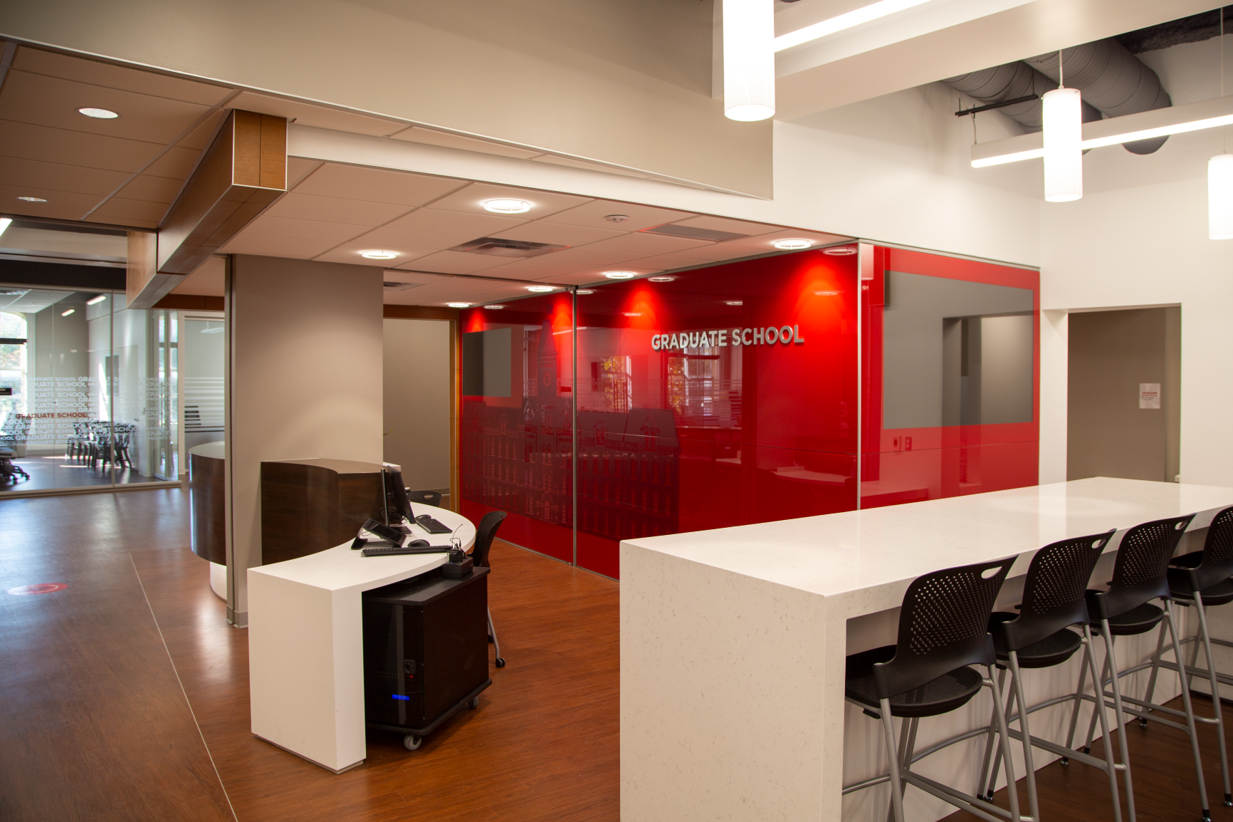 A drop-zone workspace sits just behind the desk and is great for students or staff at the Graduate School in University Hall at The Ohio State University by Continental Office