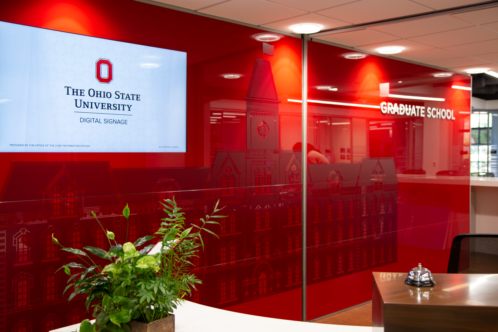 Custom branding of University Hall inside the Graduate School in University Hall at The Ohio State University by Continental Office