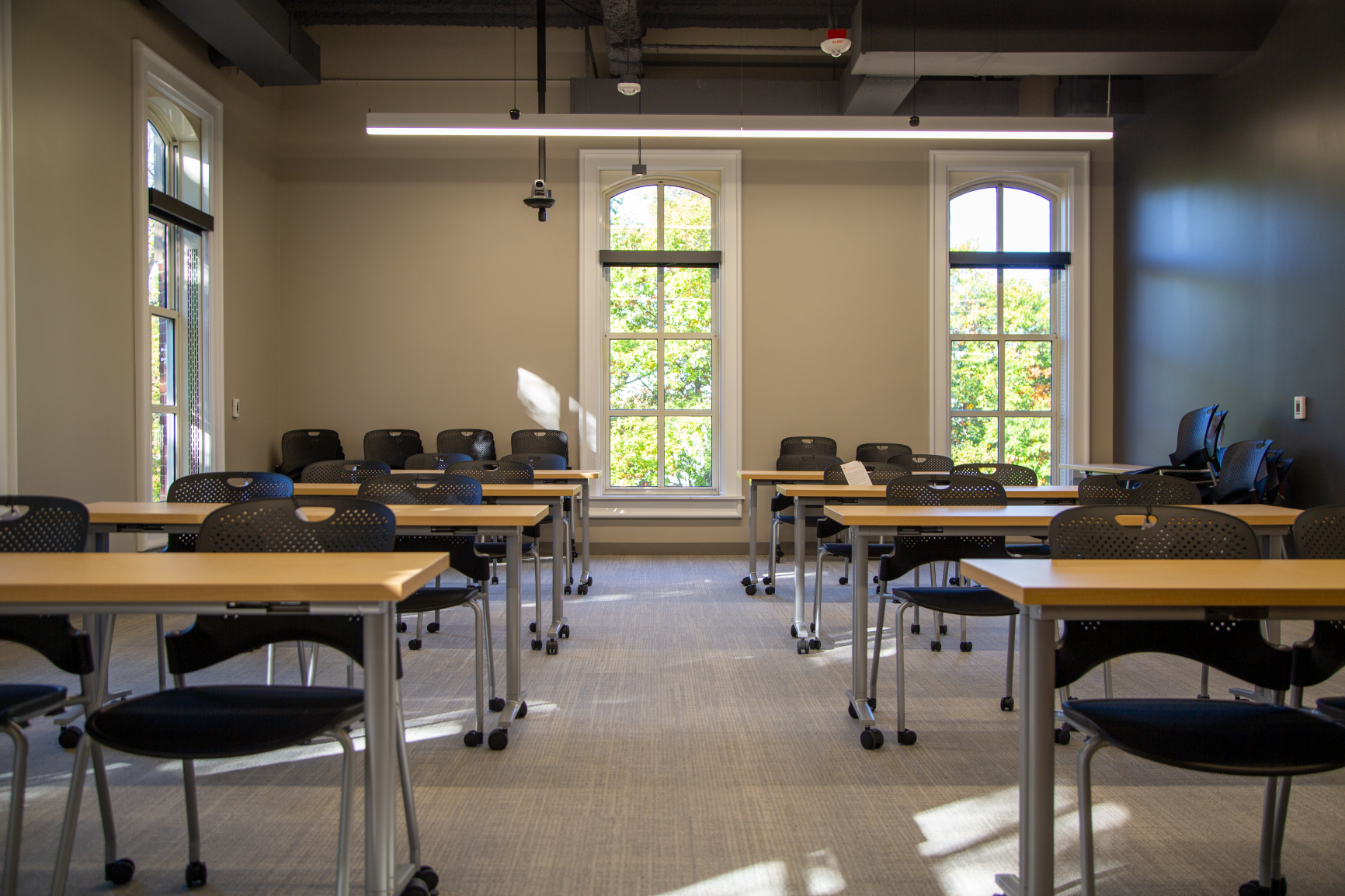 Caper chairs with mesh seating provide comfort for students in this flexible classroom space.