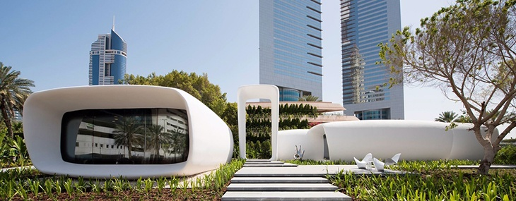 A 3D printed office is shown in Dubai