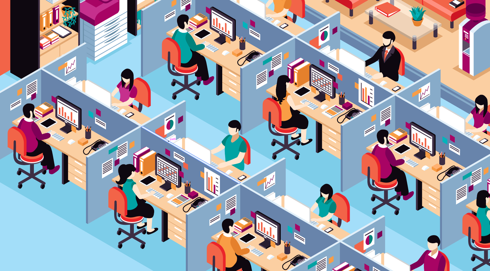 People in an office working together safely with separation between them