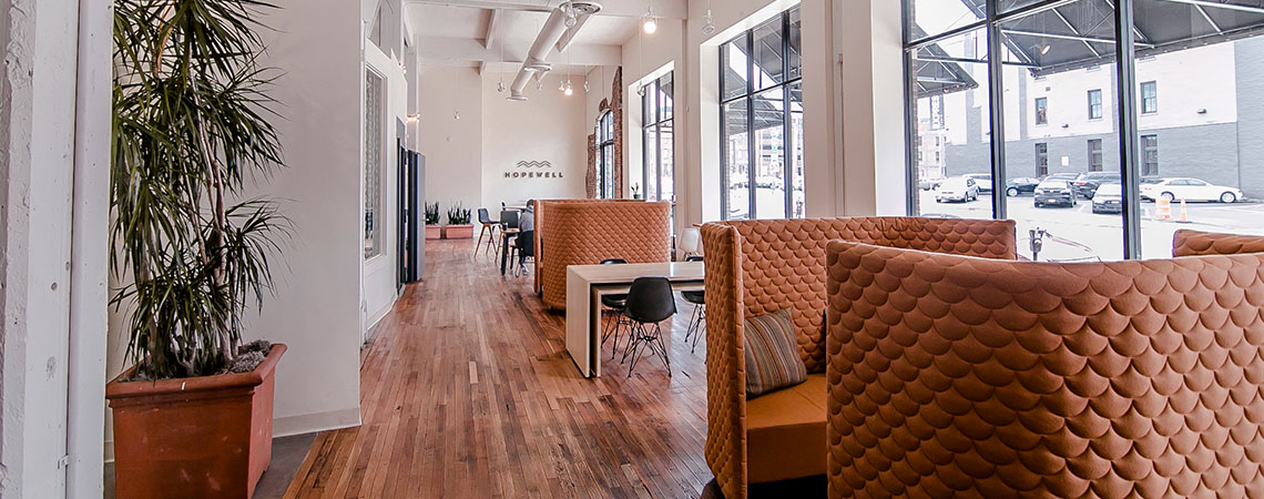Hopewell provides a co-working shared space for anyone to gather and work, with the amenities and technology to provide great work