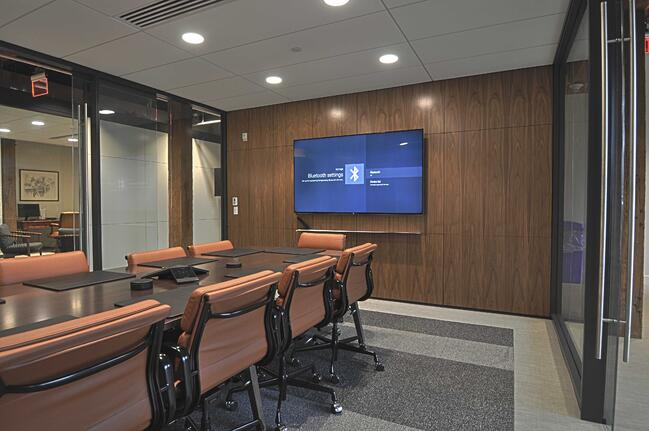 traditional conference room with built-in technology