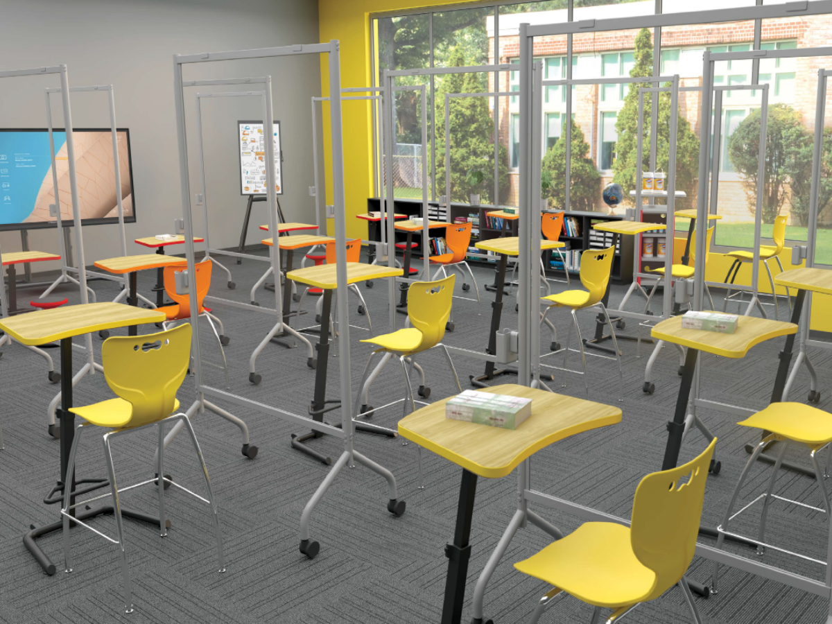 MooreCo education furniture with dividers to separate and physically distance children in the classroom continental office