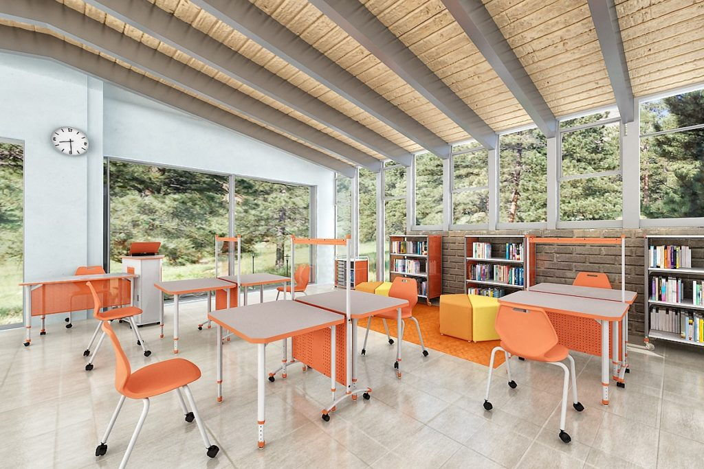 Paragon chairs and desks physically distanced in a K-12 classroom environment continental office